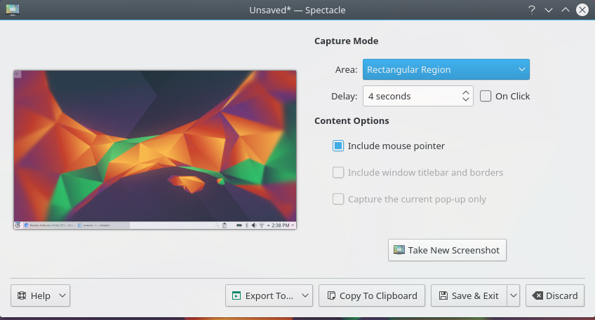 Kubuntu 16.04 screenshot app: Spectacle