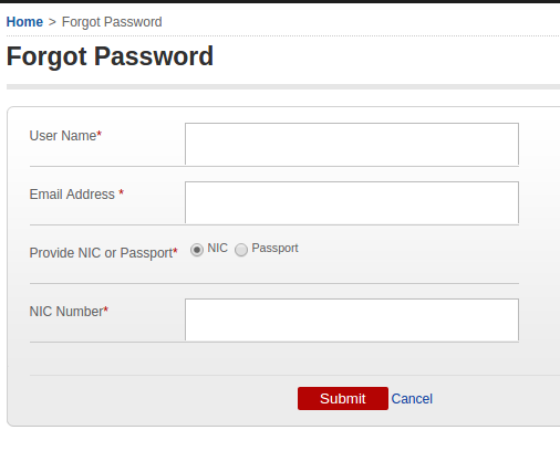 Recover password on govmu.org