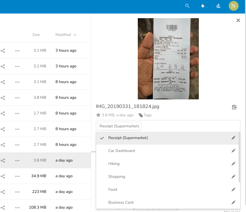 Automated Tagging of Images on Nextcloud with Tensorflow