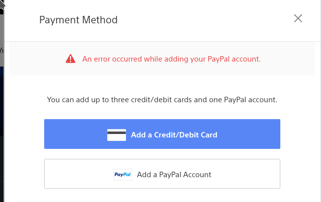 An error occured while adding your PayPal account